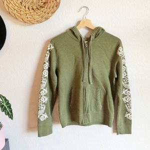 Soft Cozy Green Floral Hoodie